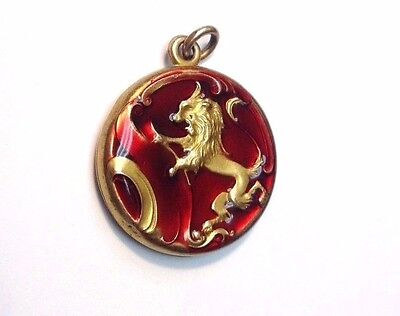 Most Beautiful! Red Guilloche Enamel Repousse  Gold Filled Lion Locket Pendant
