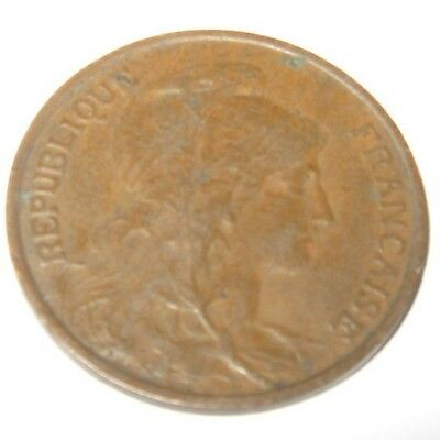 Vintage Antique French France Coin 5 Centimes 1917