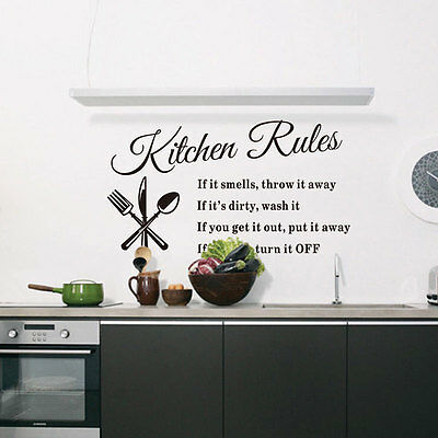 DIY Quote Wall Stickers Home Decor Removable Kitchen Rules Vinyl Art Mural Decal