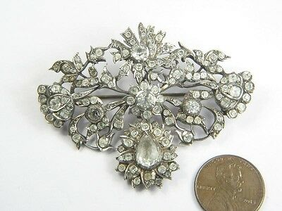 ANTIQUE FRENCH SILVER FOILED PASTE BROOCH / PENDANT c1800