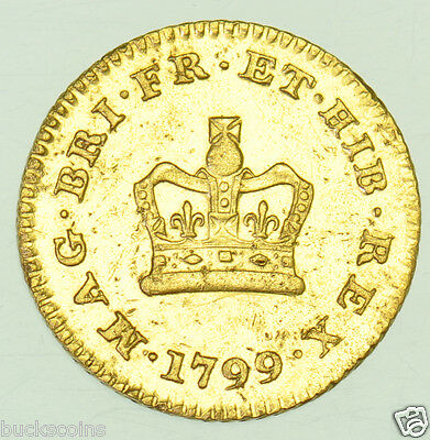 Very Rare 1799 Third Guinea British Gold Coin From George Iii Vf
