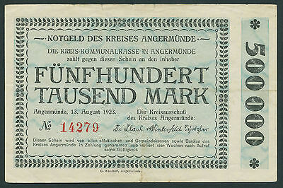 ANGERMÜNDE 500.000 Mark 1923 (3-)