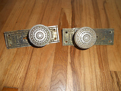 Antique Pat 1876 GILBERT RARE Pair of Lever Action Door Handles Knobs Hardware