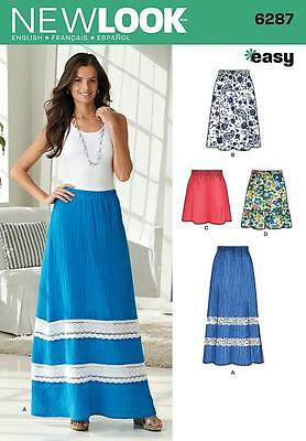 New Look Sewing Pattern Misses' Pull On Skirt Length Variation Size 10 - 22 6287
