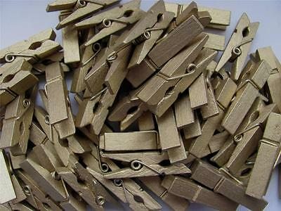SMALL PEGS GOLD bigger 35mm pk of 20 wooden mini peg wood clothespin christmas