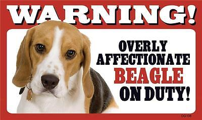 Warning! Overly Affectionate Beagle On Duty Dog Plastic Wall Sign Gift USA