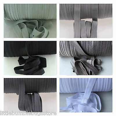Foe 5/8 Fold Over Elastic By 1, 2 & 5 Metre Lot - Solid Colours -White To Black