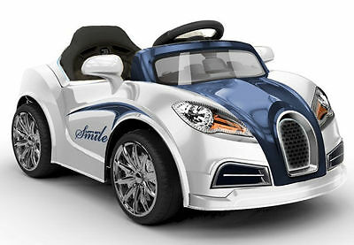 Kids Ride On Car 60W Motor 12V Rechargeable 2 Speed Bugatti Style Remote White