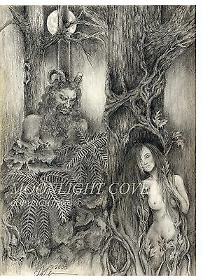 Satyr Wood Nymph Nude Pencil Drawing Print 8 1/2 X11 Signed Faery Fairy Pan Fey