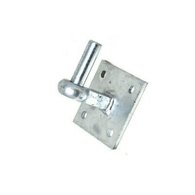 "HOOK ON 4"" x 4"" SQUARE PLATE EXTENDED SHOULDER GALVANISED FARM GATE 19mm PIN"