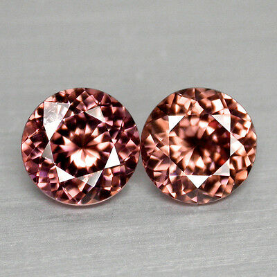 2Cts Fabulous Round Portugese Cut Imperial Pink Zircon Pair Video In Description