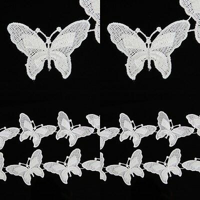 White Butterfly Lace Trimming Costume Dress Decor Sewing Craft Applique 2 Yards