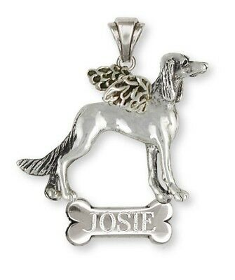 Personalized Saluki Angel Pendant Jewelry Sterling Silver SA4A-NP