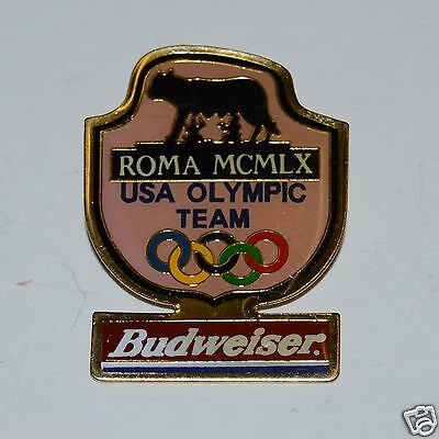 """WOW Vintage """"1960"""" MCMLX USA Olympic Team ROMA Budwesier Beer Lapel Pin"""