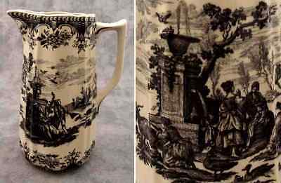 BLACK & CREAM TRANSFERWARE FRENCH COUNTRYSIDE TOILE PITCHER ~40 Ounce Capacity~
