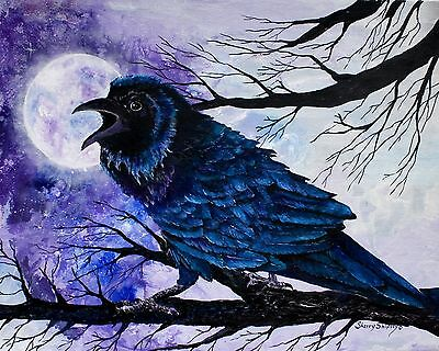 RAVEN MOON 8x10 print from Acrylic painting by Artist Sherry Shipley