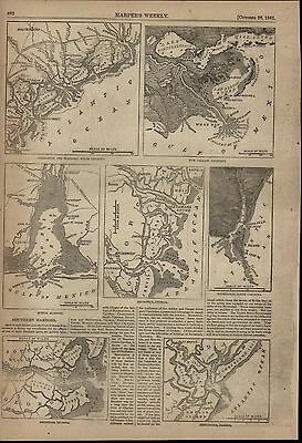 Southern Harbor Maps Charleston New Orleans 1861 Civil War old map for display