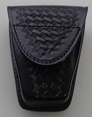 "Basketweave Single Standard Leather Handcuff Cuff Case Closed ""Y"" Black"