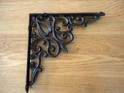 Elegant French Scroll Cast Iron Shelf / Corner / Wall Bracket Rustic Brown