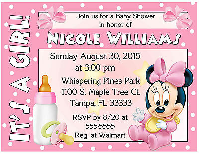 20 baby minnie mouse baby shower invitations printed with 20 baby minnie mouse baby shower invitations printed with envelopes filmwisefo