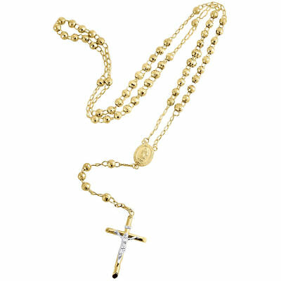 "10K Yellow Gold Virgin Mary Rosary Diamond Cut Beads 5mm Necklace Chain 26""+4"""