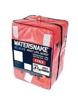 4 x Watersnake EXR Standard Block Adult Life Jackets - Adult Level 100 PFDs