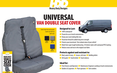 HDD Van Double Universal Fit Front Seat Cover BLACK 291  Heavy Duty Designs