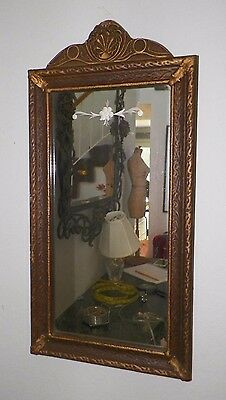 "Vintage Small Wooden Barbola Gesso Mirror With Etched Design 23"" Tall"