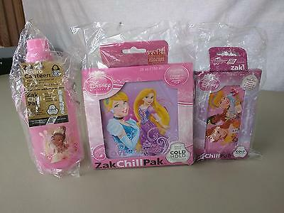 Disney Princess Zak Chill Pack Lunch Snack Set 3pc BPA Free Cold Hold Technology