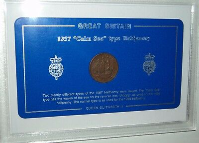 GB Great Britain British Vintage The Calm Sea Halfpenny Retro Coin Gift Set 1957