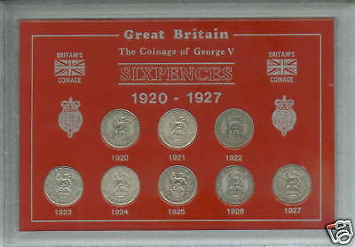 1920-1927 King George V Sixpence 6d Sixpences Type Coin Gift Set in Display Case