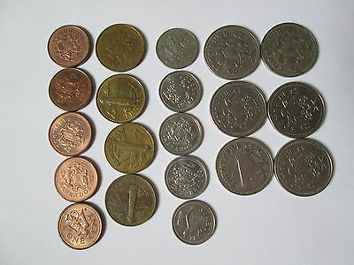 Vtg Old Barbados Coin Lot Set Collection 1970s 1980s 1990s 2000s 25 20 5 1 Cents