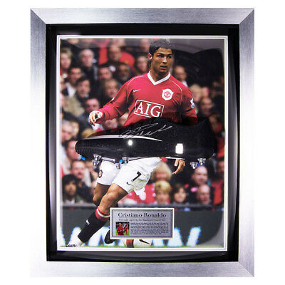 Signed Cristiano Ronaldo Framed Black CR7 Nike Boot - Man Utd Display