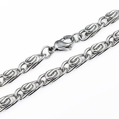 MENDINO Men's 316L Stainless Steel Necklace Snail Link Chain Clasp Silver 4.5mm