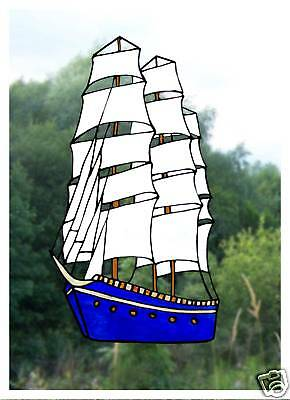 Tall Ship Stained Glass Effect Window Cling / Decal