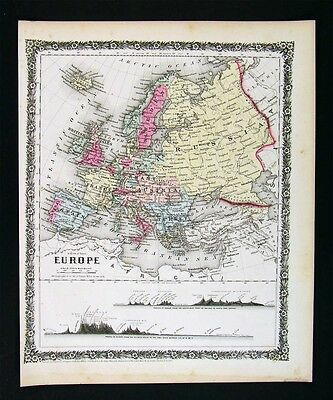 1858 Colton Map Europe Austria Italy Spain Britain Russia France Germany Sweden