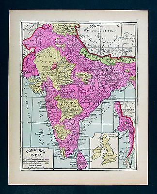 1885 Tunison Map British India Nepal Bhotan Burma Ceylon Bombay Calcutta Delhi