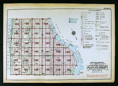 1925 New York City Map Manhattan Columbia University Riverside Park East Side