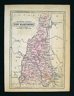 1852 Boynton Map  New Hampshire Concord Exeter Portsmouth Mt. Washington Antique