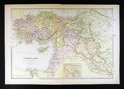1882 Blackie Atlas Map - Turkey in Asia Minor Middle East Iraq Israel Syria Iran
