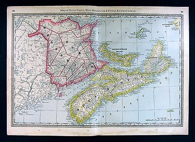 1885 Hardesty Map - Nova Scotia New Brunswick - Halifax Fredericton - Canada