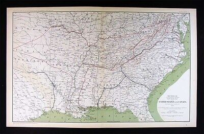 Civil War Map by Colton - United States South Union Routes General Grant Sherman