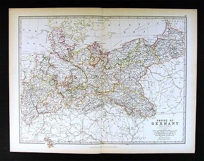 1883 Johnston Map Germany Prussia Poland Danzig Berlin Westphalia Saxony Weimar