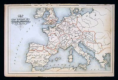 1869 Historical Atlas Map Europe Charlemagne Empire Carolingian Period France