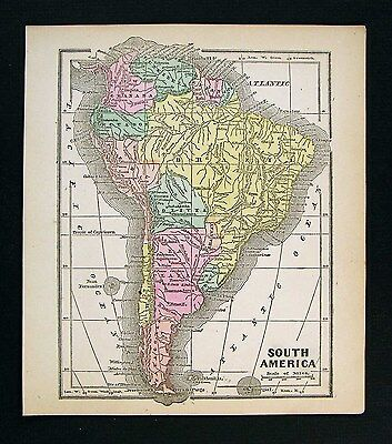 1857 Morse Map - South America - Brazil Peru Argentina Patagonia Columbia Chile