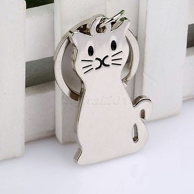 10X Silvery Sitting Cat  Kitty Pendant Keychain Girl Key Ring Fob Craft Toy Gift