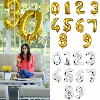 """16"""" Large Foil 0 - 9 Number Party Decoration Baloons Wedding Anniversary Gifts"""