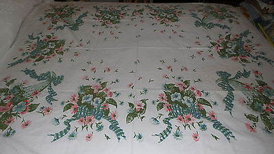 """Vintage Cotton Tablecloth PINK & BLUE-GREEN FLORAL RIBBONS & BOWS, 48""""X58"""""""