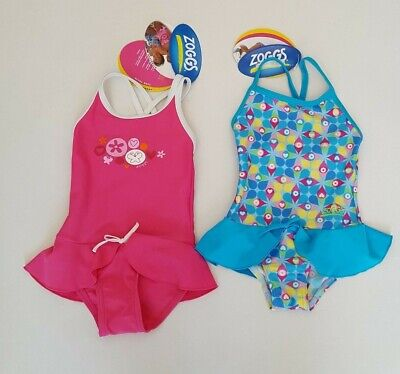 Zoggs Girls Pretty Swimsuit Swimming Costume with Skirt