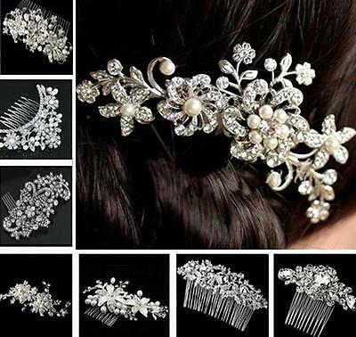 Bridal Bridesmaid Wedding Jewellery Silver Crystal Flower Pearls Hair Comb Clip